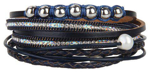 Fashion Personality Two Circle Cortico Crystal Beads Hand Chain - BLUE