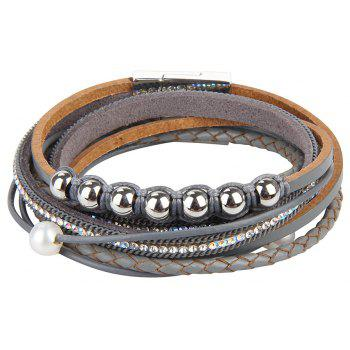 Fashion Personality Two Circle Cortico Crystal Beads Hand Chain - GRAY