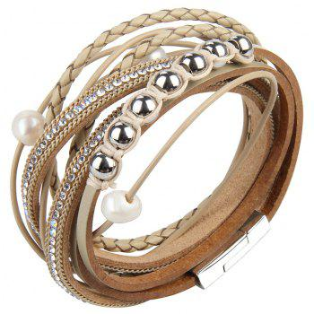 Fashion Personality Two Circle Cortico Crystal Beads Hand Chain - GOLD