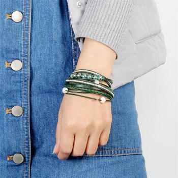 Fashion Personality Two Circle Cortico Crystal Beads Hand Chain - GREEN