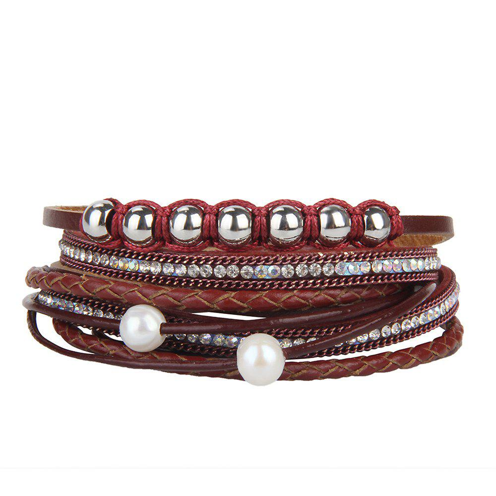 Fashion Personality Two Circle Cortico Crystal Beads Hand Chain - RED