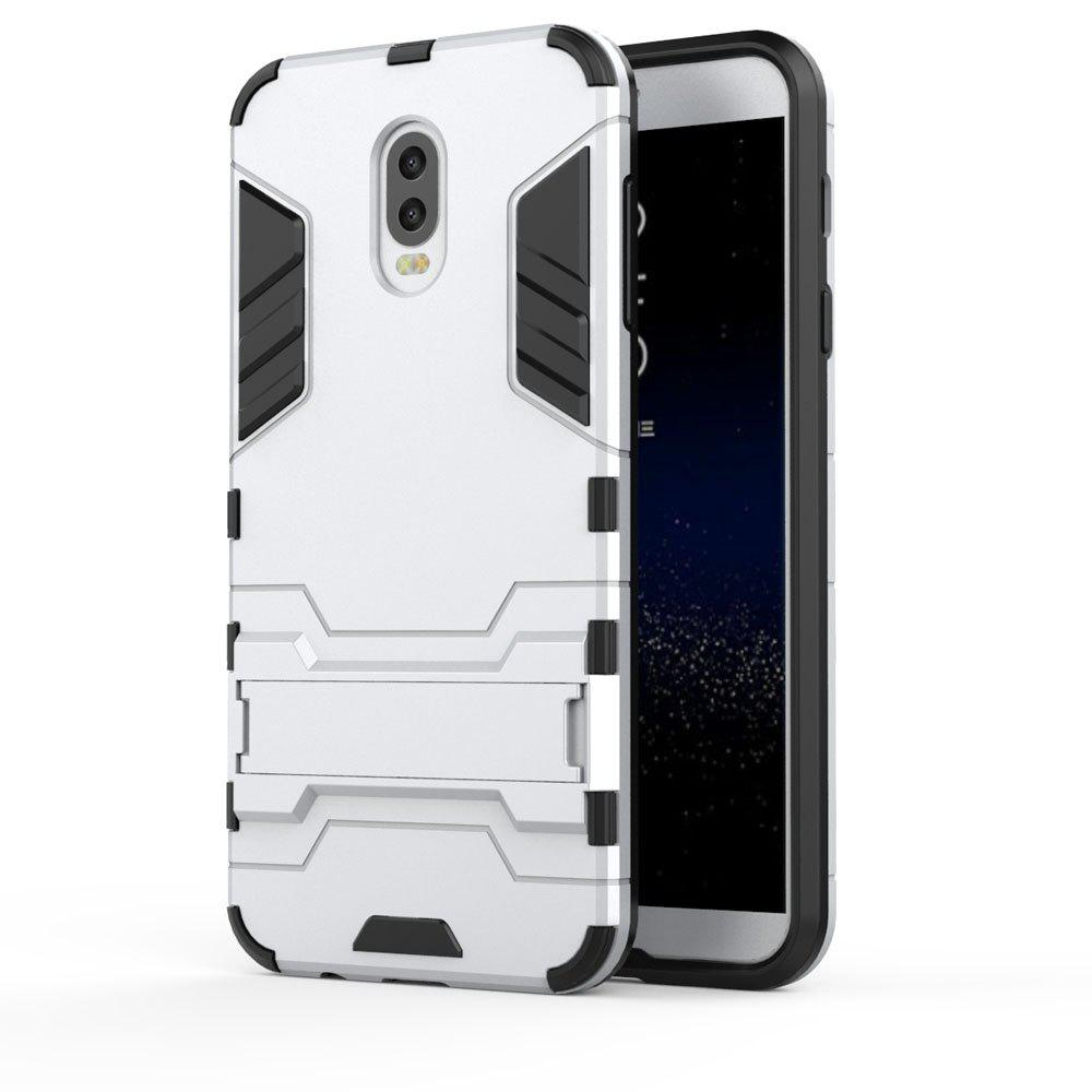 Armor Case For Samsung Galaxy C8 / J7 Plus Silicon Back Shockproof Protection Cover - SILVER
