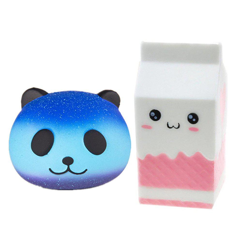 Slow Rising Jumbo Squishy Kawaii Bottle and Panda Soft Toy 2PCS - multicolor