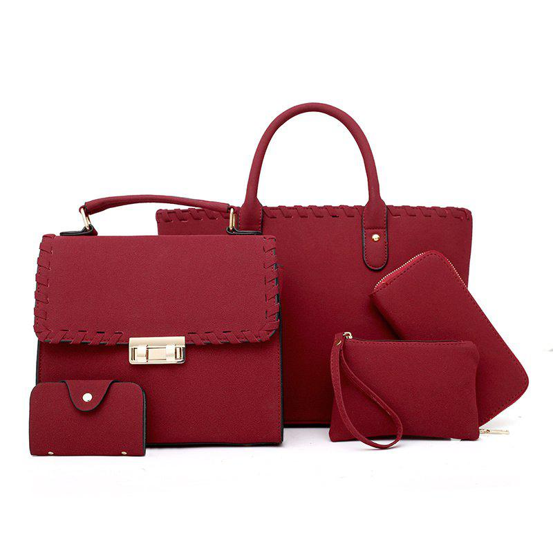 The New Trendy Korean Version of Woven Wide-mesh Messenger Bag Shoulder Diagonal Package - BURGUNDY