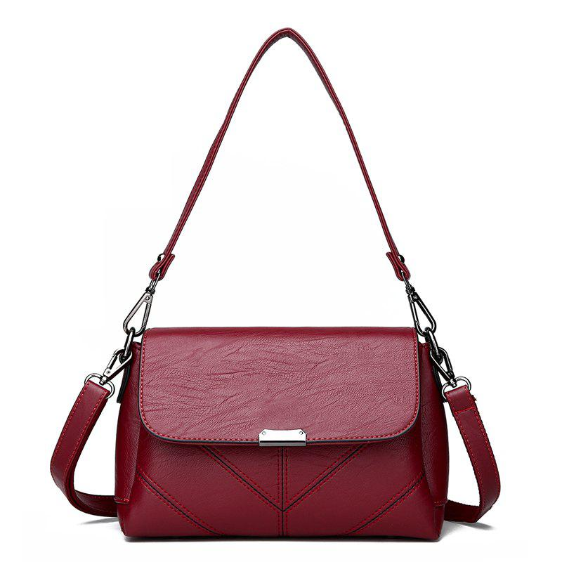 Middle-aged Female Casual Fashion Wild Cross-shoulder Messenger Bag - FIREBRICK
