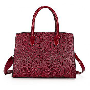 Patent Leather Bright Embossed Tote Bag Handbag Messenger Shoulder Large Capacity Photo - BURGUNDY