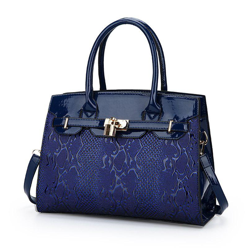 Patent Leather Bright Embossed Tote Bag Handbag Messenger Shoulder Large Capacity Photo - EARTH BLUE