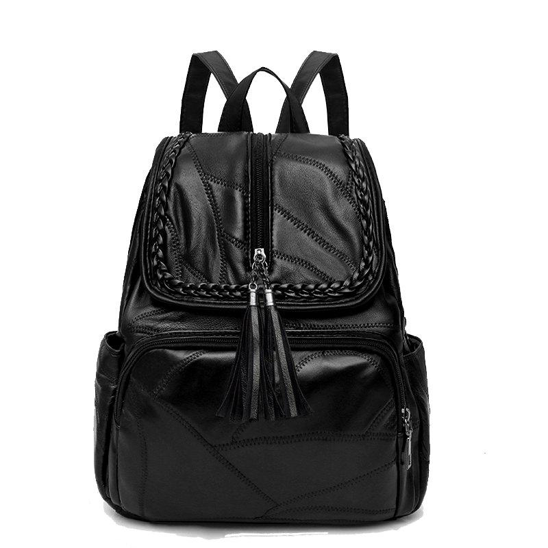 Casual Fashion Wild Soft Leather Tassel Simple Small Fresh Soft Leather Stitching Shoulder Bag - BLACK