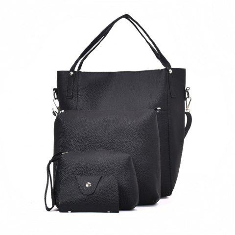 Four Pieces Female Shoulder Portable Casual Fashion Personality Wild Tote Bag - BLACK