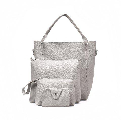Four Pieces Female Shoulder Portable Casual Fashion Personality Wild Tote Bag - WHITE