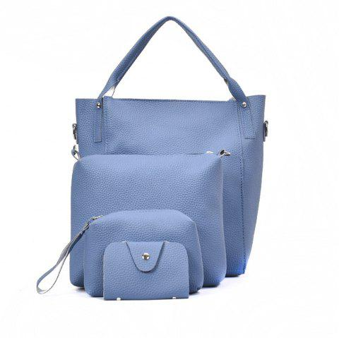 Four Pieces Female Shoulder Portable Casual Fashion Personality Wild Tote Bag - BLUE