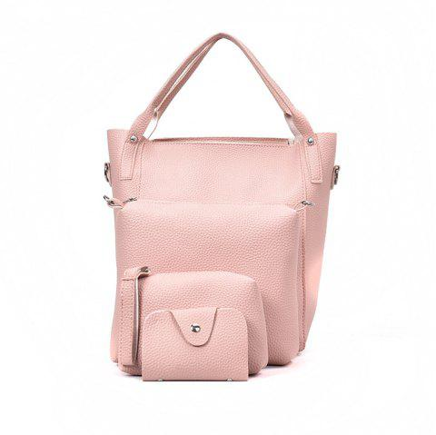 Four Pieces Female Shoulder Portable Casual Fashion Personality Wild Tote Bag - PINK