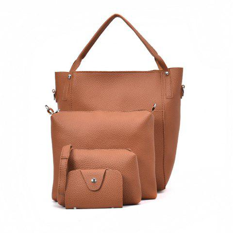 Four Pieces Female Shoulder Portable Casual Fashion Personality Wild Tote Bag - BROWN