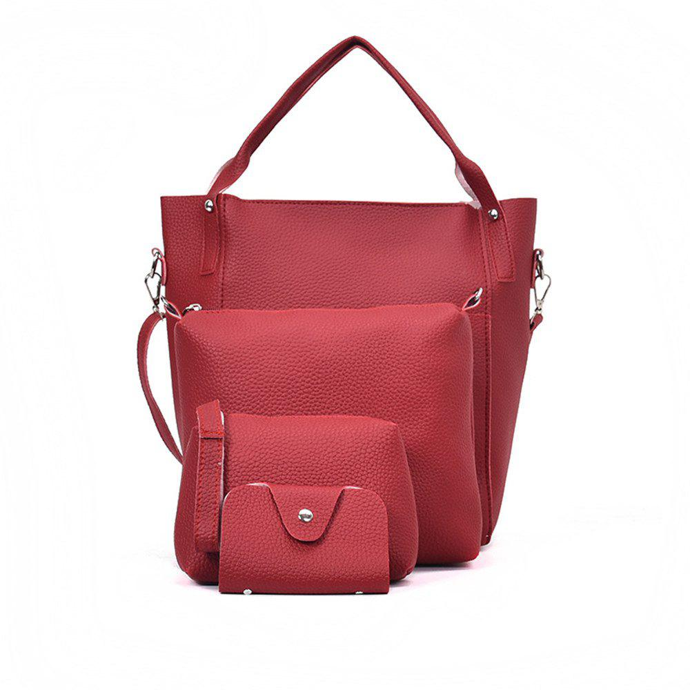 Four Pieces Female Shoulder Portable Casual Fashion Personality Wild Tote Bag - RED