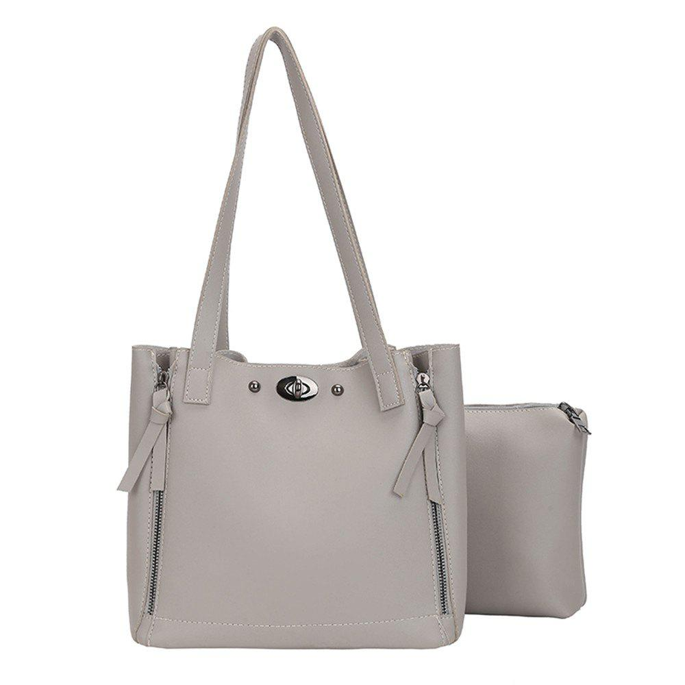 Female Simple Wild Two Pieces Laptop Shoulder Bag - GRAY GOOSE