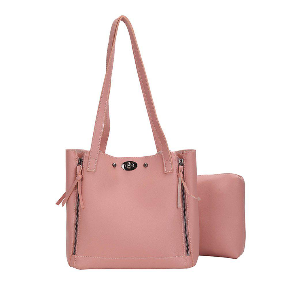 Female Simple Wild Two Pieces Laptop Shoulder Bag - PINK