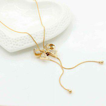 New Style Bow Pendant with Diamond Necklace - GOLD