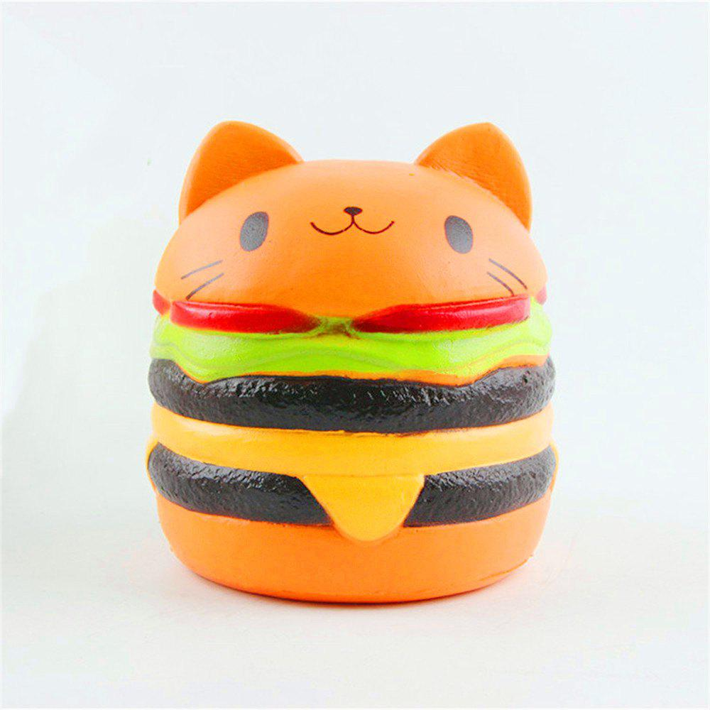 Jumbo Squishy Stylish Cat Head Burger PU Stress Reliever Toy - SUNRISE ORANGE
