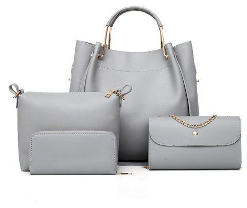 Four-piece Female Fashion Shoulder Messenger Atmospheric Handbag Bucket Bag - GRAY CLOUD