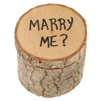Wooden Wedding Ring Box Original Wood Printing Ring Box Wedding Festival Party Arts and Crafts - BEIGE