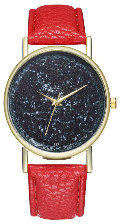 Zhou Lianfa Leather Brand Watch - RED
