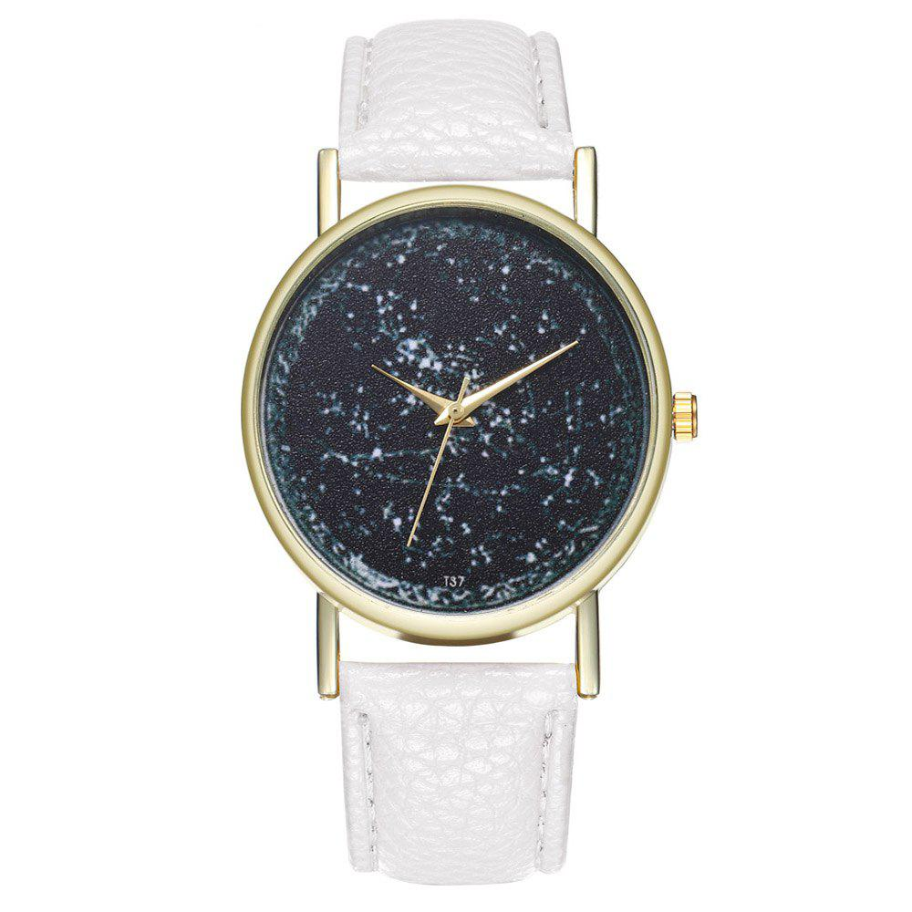 Zhou Lianfa Brand Constellation Leather Watch - WHITE