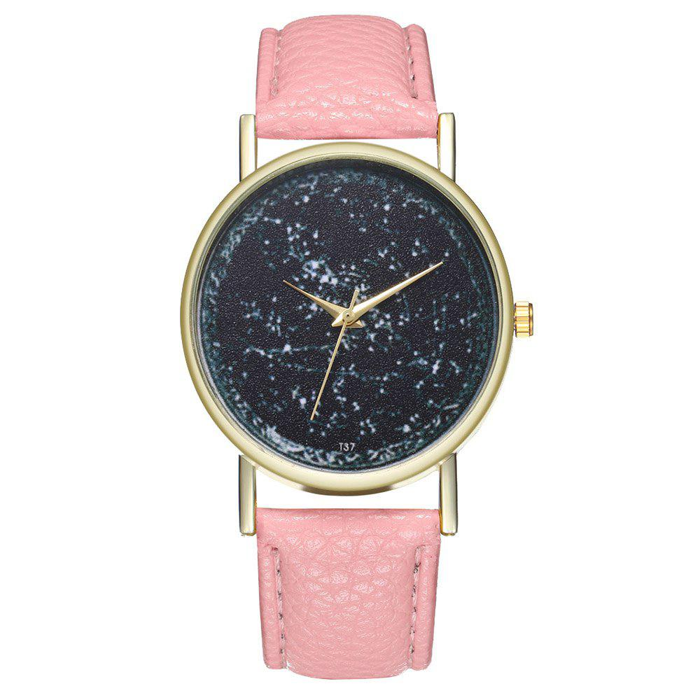 Zhou Lianfa Brand Constellation Leather Watch - PINK
