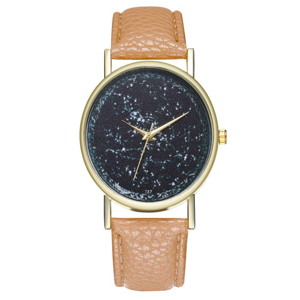 Zhou Lianfa Brand Constellation Leather Watch - BEIGE