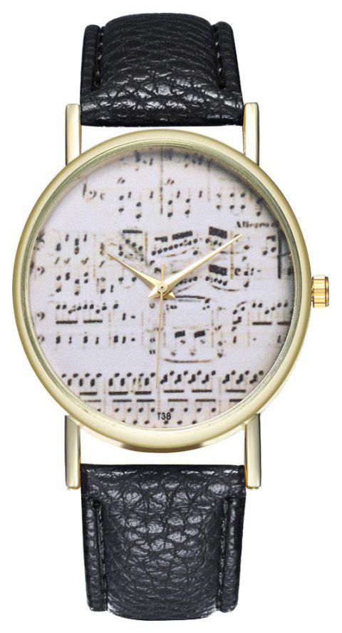 Zhou Lianfa Brand Music Leather Watch - BLACK
