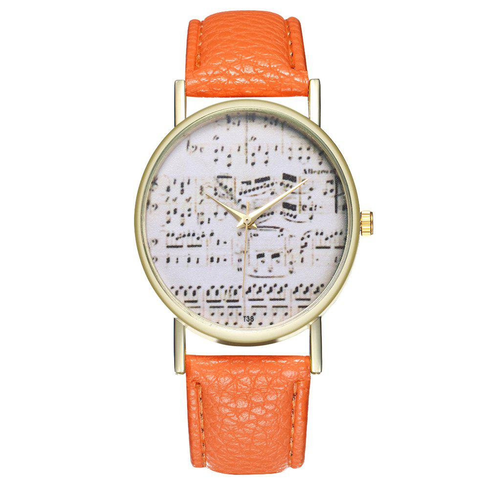Zhou Lianfa Brand Music Leather Watch - ORANGE