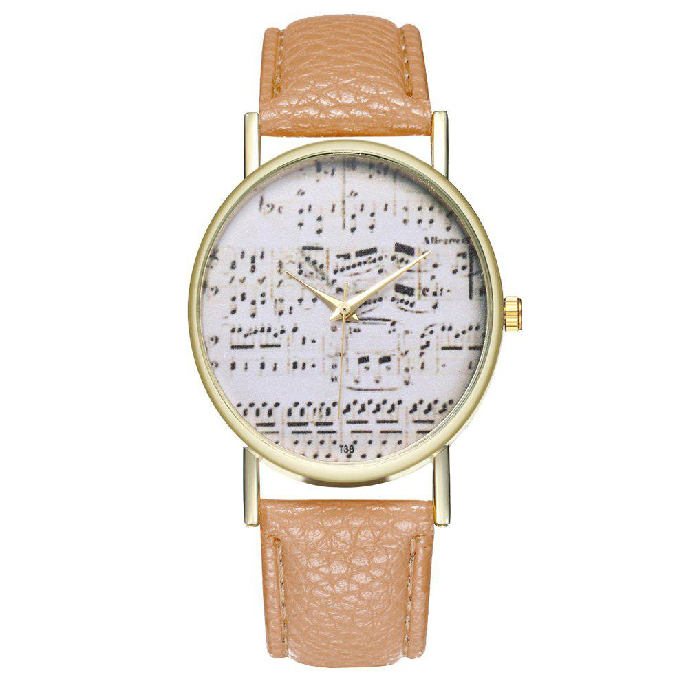Zhou Lianfa Brand Music Leather Watch - BEIGE