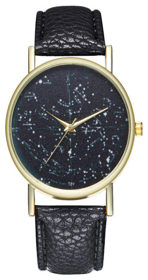 Zhou Lianfa Brand Constellation Northern Hemisphere Leather Watch - BLACK