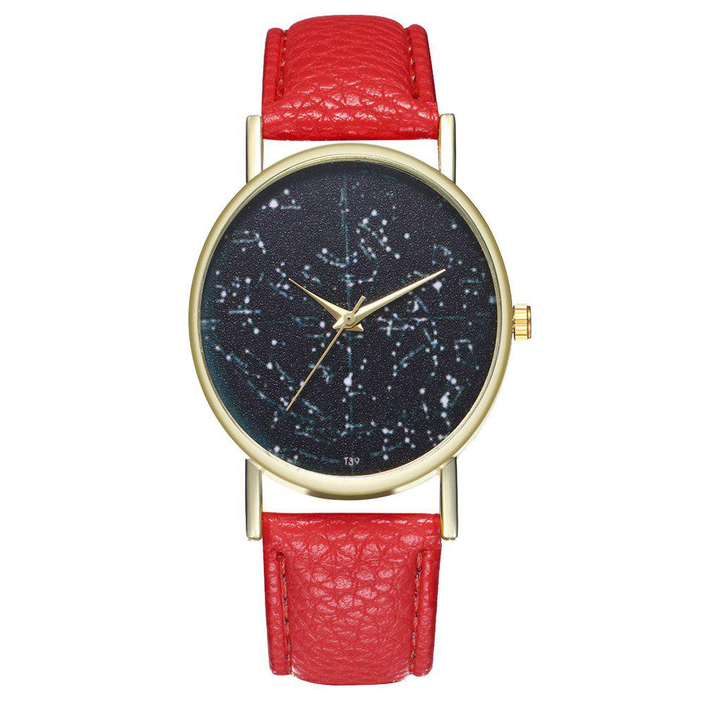 Zhou Lianfa Brand Constellation Northern Hemisphere Leather Watch - RED