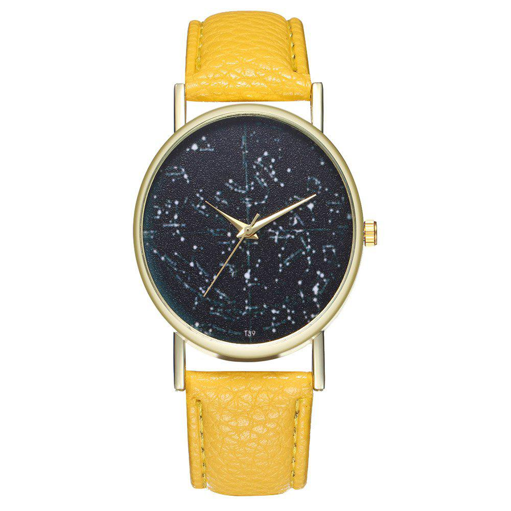 Zhou Lianfa Brand Constellation Northern Hemisphere Leather Watch - YELLOW