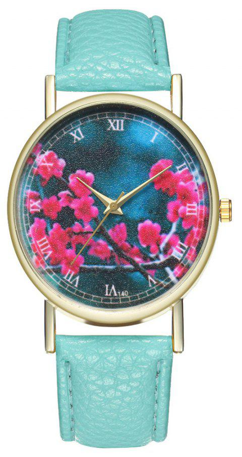 Zhou Lianfa Brand Fashion Sakura Leather Lady's Watch - MINT GREEN