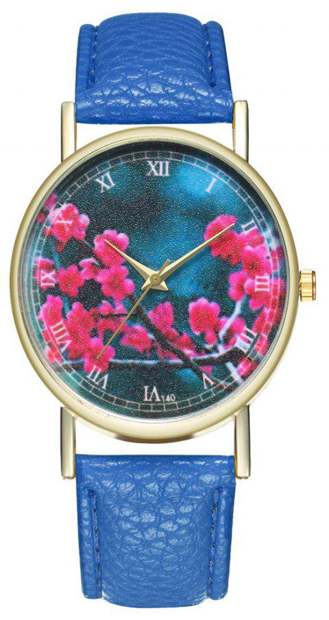 Zhou Lianfa Brand Fashion Sakura Leather Lady's Watch - ROYAL BLUE