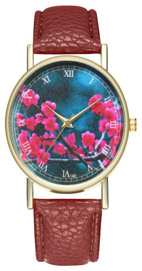 Zhou Lianfa Brand Fashion Sakura Leather Lady's Watch - COFFEE