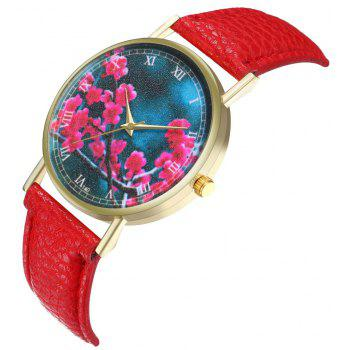 Zhou Lianfa Brand Fashion Sakura Leather Lady's Watch - RED