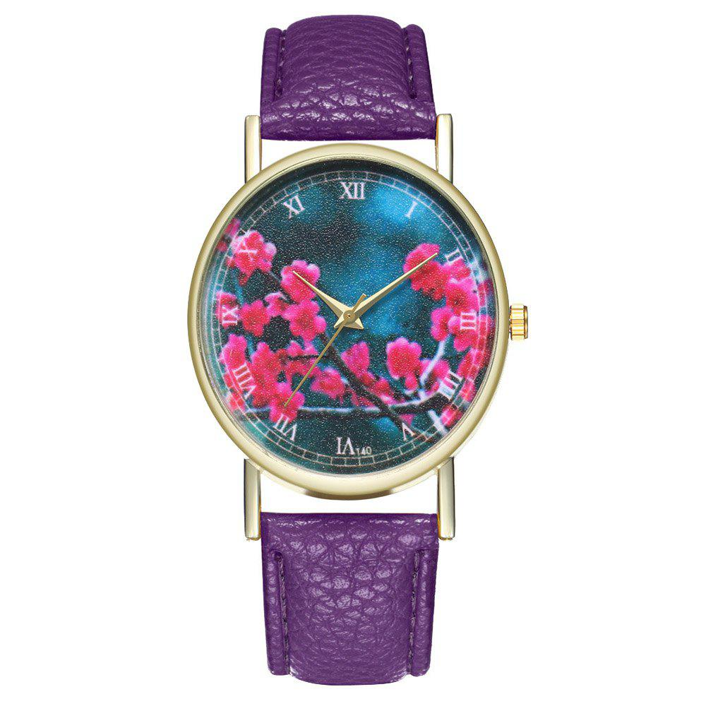 Zhou Lianfa Brand Fashion Sakura Leather Lady's Watch - VIOLET