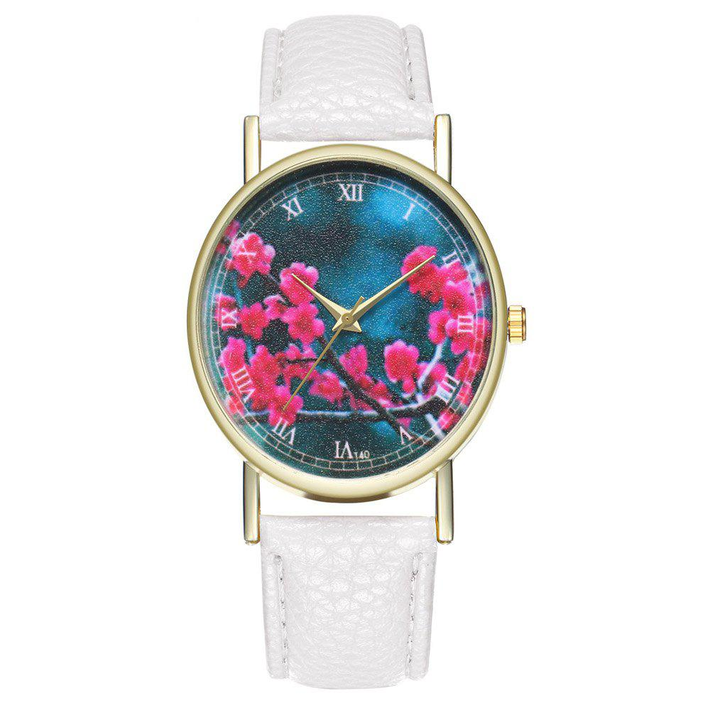 Zhou Lianfa Brand Fashion Sakura Leather Lady's Watch - WHITE