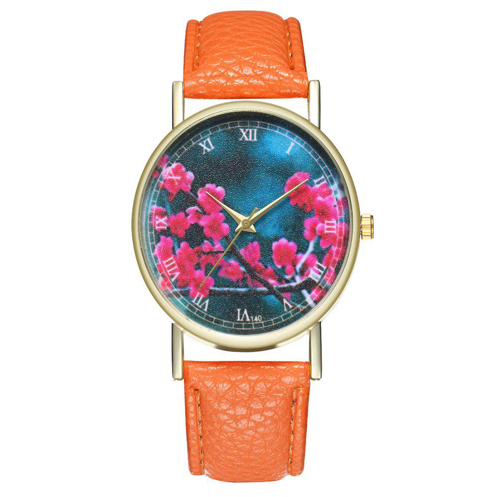 Zhou Lianfa Brand Fashion Sakura Leather Lady's Watch - ORANGE