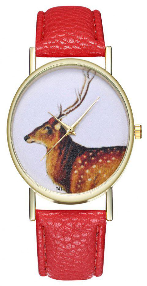 Zhou Lianfa Brand Vintage Deer Style Leather Watch - RED