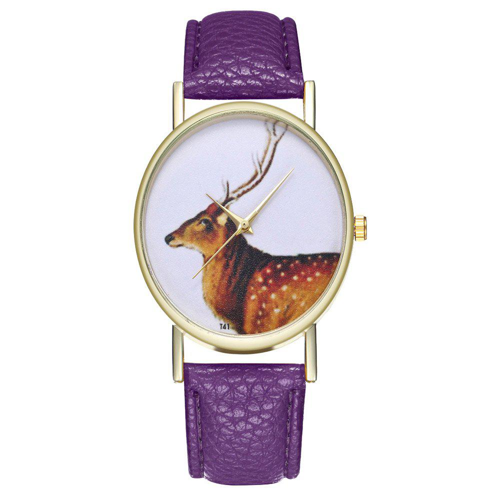 Zhou Lianfa Brand Vintage Deer Style Leather Watch - VIOLET