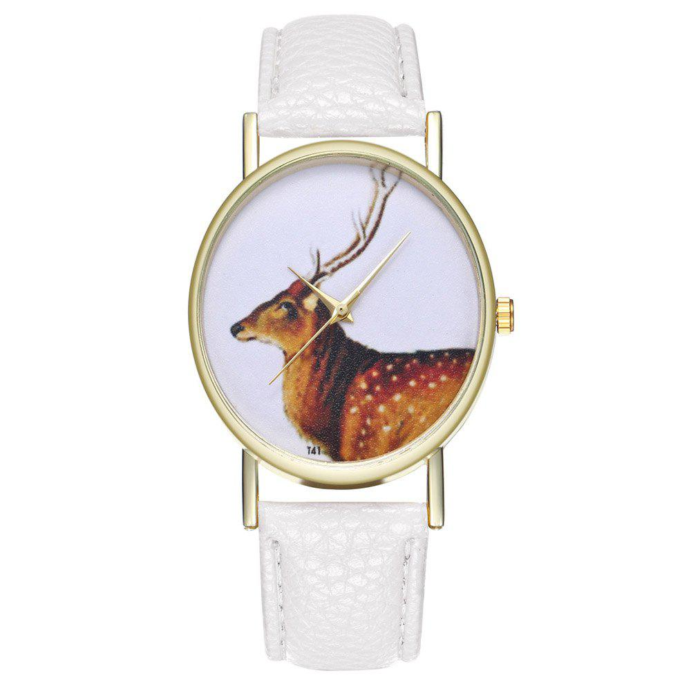 Zhou Lianfa Brand Vintage Deer Style Leather Watch - WHITE