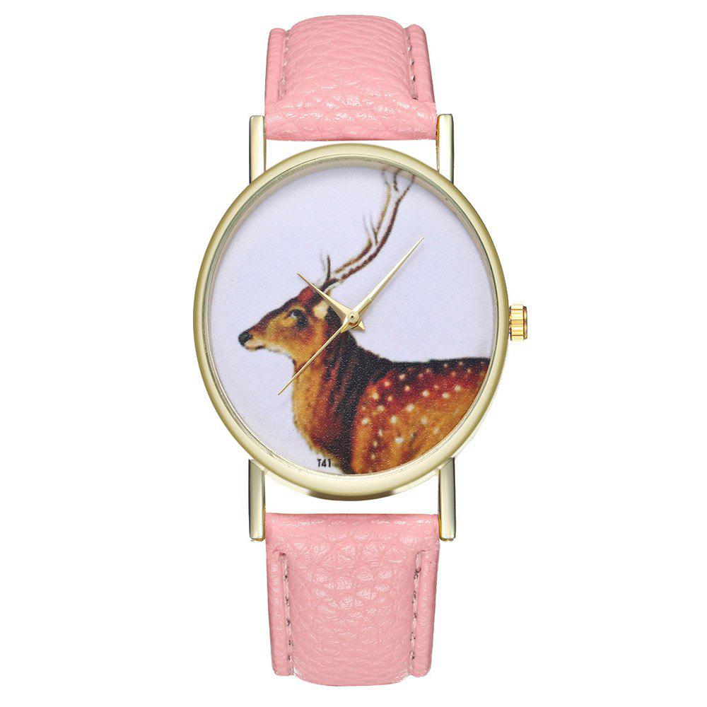 Zhou Lianfa Brand Vintage Deer Style Leather Watch - PINK