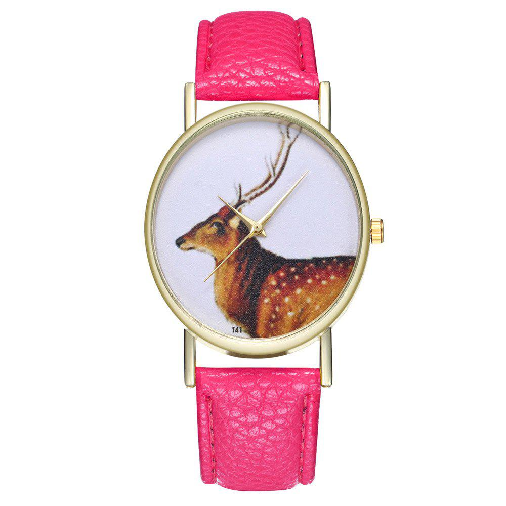 Zhou Lianfa Brand Vintage Deer Style Leather Watch - DIMORPHOTHECA MAGENTA