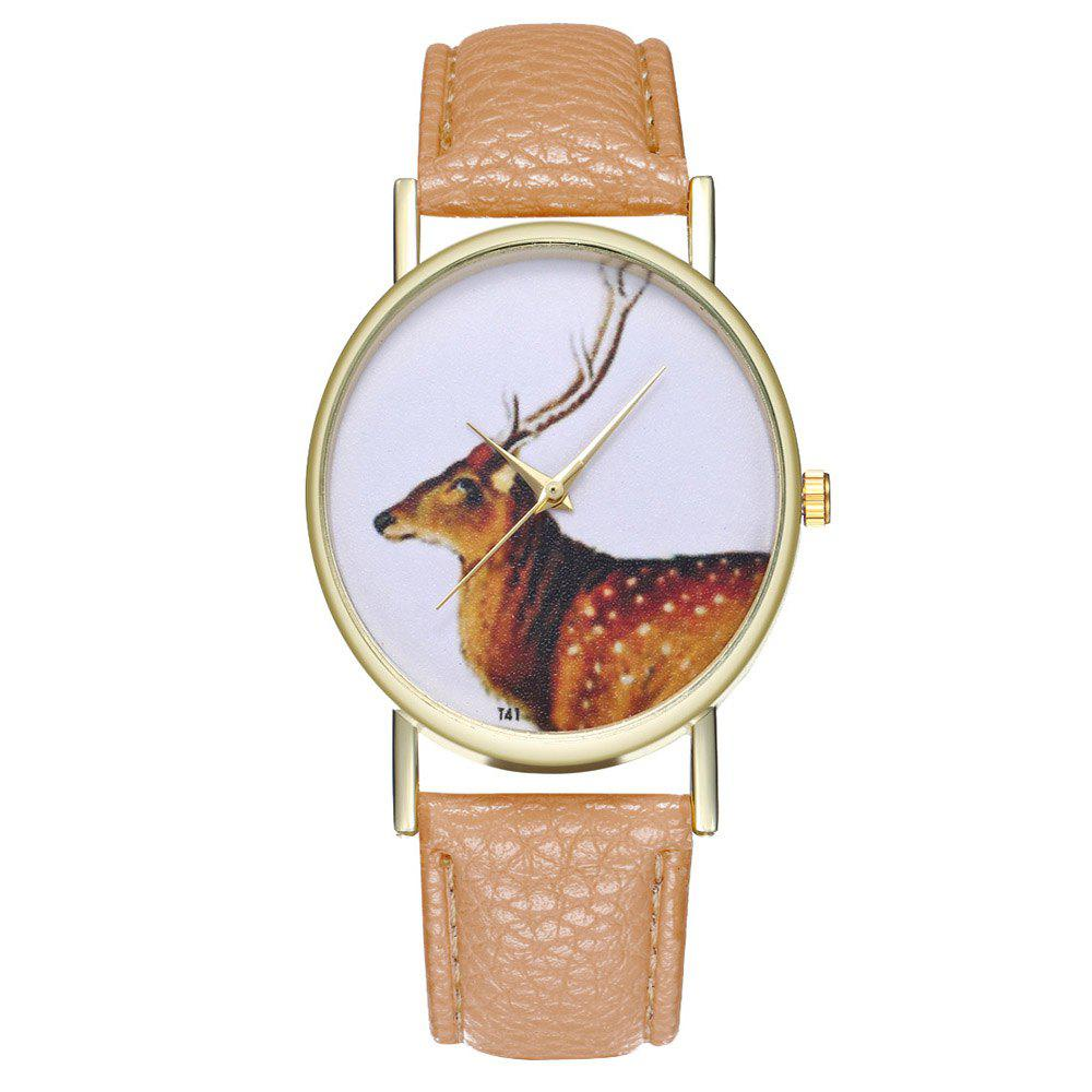 Zhou Lianfa Brand Vintage Deer Style Leather Watch - BEIGE