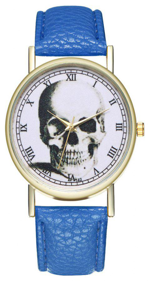 Zhou Lianfa Brand Vintage Skull Leather Watch - ROYAL BLUE