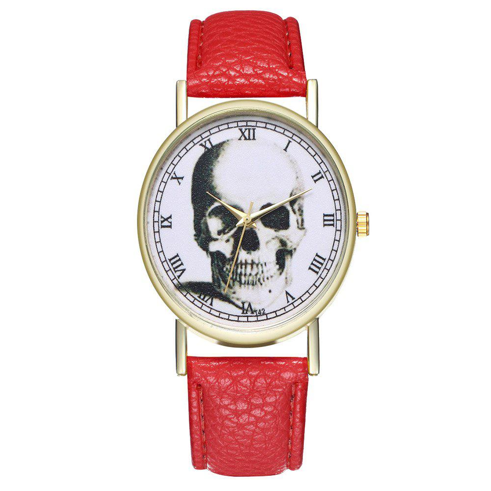 Zhou Lianfa Brand Vintage Skull Leather Watch - RED