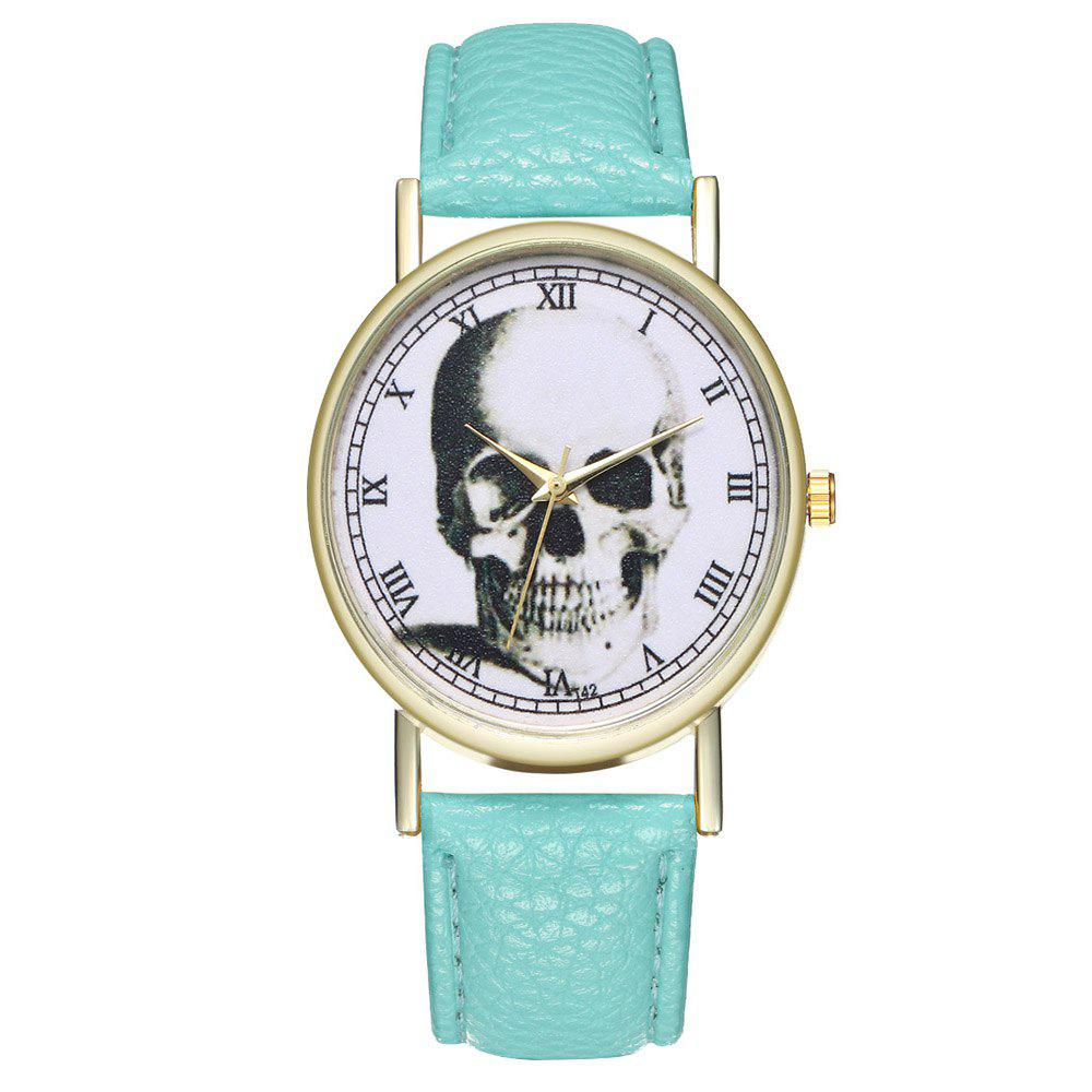Zhou Lianfa Brand Vintage Skull Leather Watch - MINT GREEN